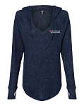 Women's Cuddle Fleece V-Neck Hooded Pullover (Navy, Black, Oxford)